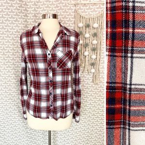 Beachlunchlounge Red Plaid Rayon Flannel Blouse